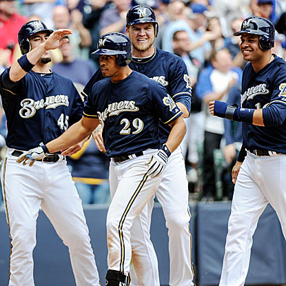 Edwin Maysonet (29) hits his second career HR and first-ever grand slam to lead the Brewers past the Cubs.  (US Presswire)