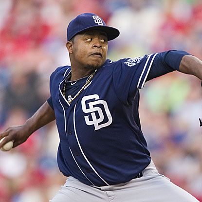 The Padres' Edinson Volquez escapes a few early jams to pitch six effective innings and earn the victory over the Phillies.  (US Presswire)
