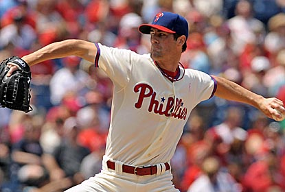Cole Hamels goes seven strong innings, giving up just one run, in his return from a five-game suspension.  (US Presswire)