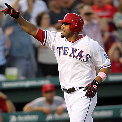 Nelson Cruz's grand slam caps a five-run third inning for the Rangers, breaking the game wide open.   (Getty Images)