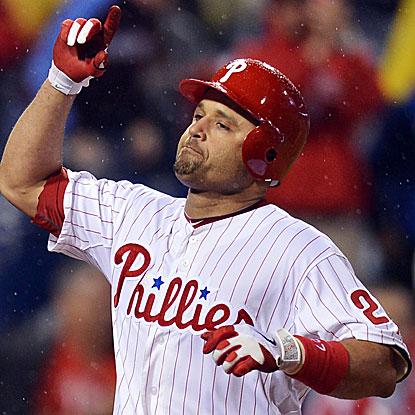 The Phillies' Placido Polanco homers to record career hit No. 2,000th.  (Getty Images)