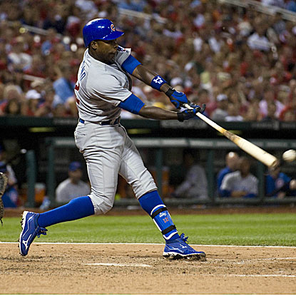 Alfonso Soriano delivers an RBI single in the eighth inning to help the Cubs get past the Cardinals.  (US Presswire)