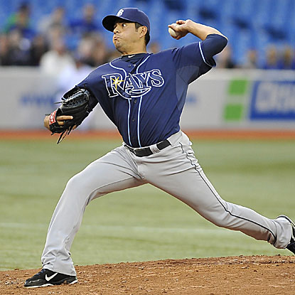 Cesar Ramos pitches three innings out of the Rays' bullpen to collect his first career major-league victory.  (Getty Images)