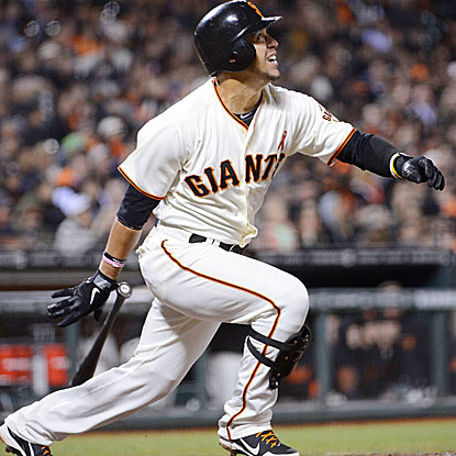 Gregor Blanco homers and picks up two singles for the Giants in their one-run victory over the Rockies.  (Getty Images)