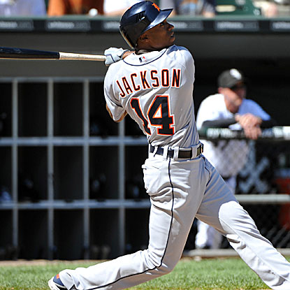 Austin Jackson is one of three Tigers to homer during their eight-run rally in the sixth inning.  (US Presswire)