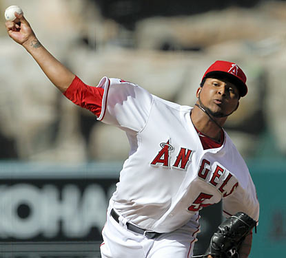 Ervin Santana stifles the Athletics in 7 2/3 innings. He gives up just four hits while striking out nine. (AP)