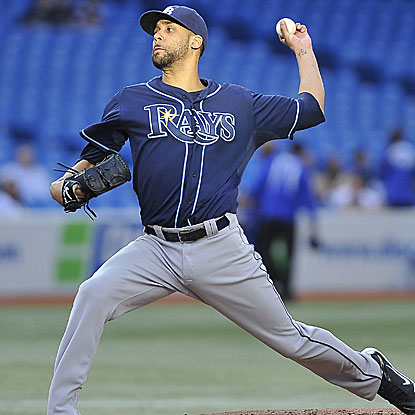 The Rays' David Price retires 12 of the final 13 batters he faces and earns the win,  improving to 6-2.  (Getty Images)