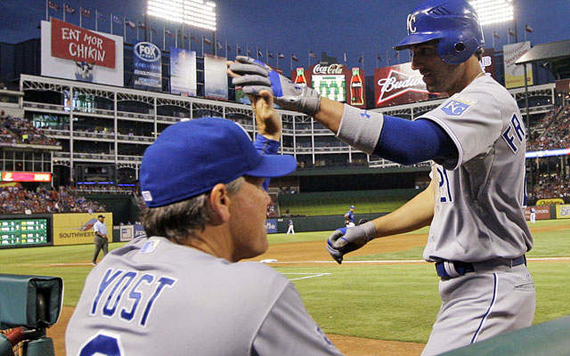 The bewildering Royals won two straight, on the road, against the red-hot Rangers. (AP)