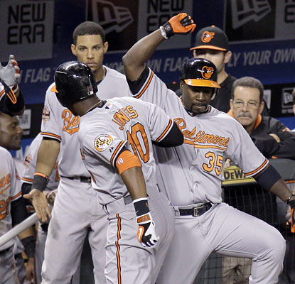 Adam Jones (left) and Bill Hall celebrate after Jones' solo shot with one out in the 15th inning. (AP)