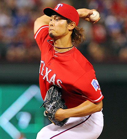 Yu Darvish finishes strong, completing a 118-pitch outing by retiring 11 of his last 12 batters.  (US Presswire)