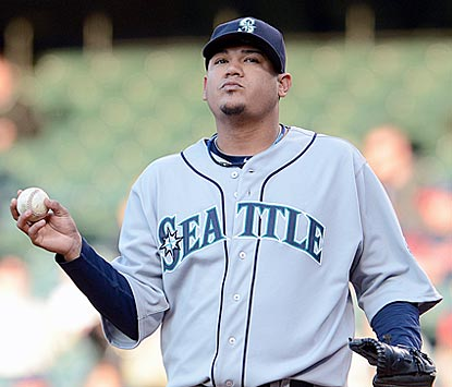 Felix Hernandez absorbs a rare beatdown. He throws 103 pitches and retires only 11 batters.  (Getty Images)