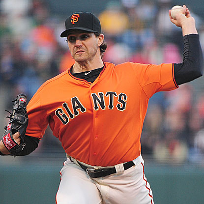 The Giants' Barry Zito allows four earned runs in 5 1/3 innings for the win and also collects a RBI with a bases-loaded walk. (US Presswire)