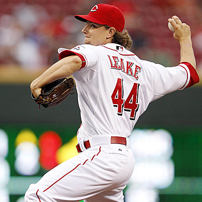 After allowing a first-inning HR, the Reds' Mike Leake retires 14 straight en route to his first victory of the season.  (US Presswire)