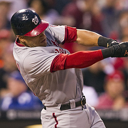 Ian Desmond homers and drives in both runs for the Nationals in their win over the Phillies.  (US Presswire)