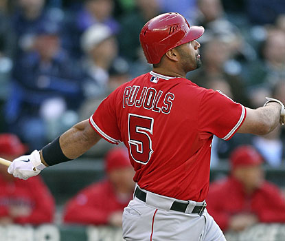 At 32, Albert Pujols is the fourth-youngest player in baseball history to reach 450 home runs. (Getty Images)