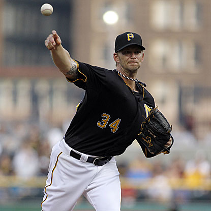 The Pirates' A.J. Burnett combines with four relievers to shut out the Cubs.  (Getty Images)