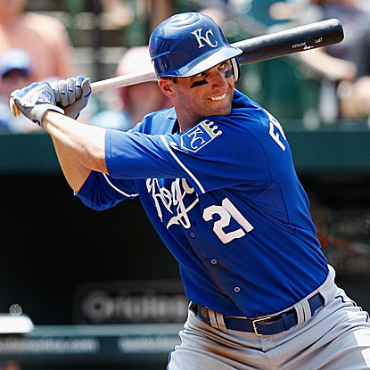 The Royals' Jeff Francoeur homers and goes 2 for 4 Sunday to finish 7 for 12 in the three-game series with the Orioles.  (Getty Images)