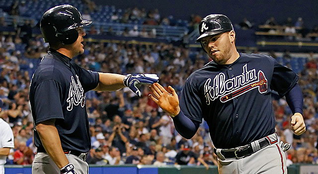 First baseman Freddie Freeman (right) is one of multiple Braves to be sidelined this week. (Getty Images)