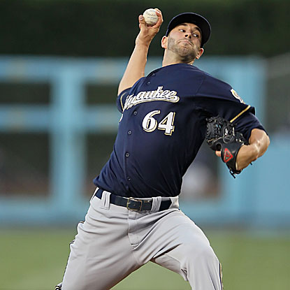 In his first MLB start, the Brewers' Mike Fiers allows one run in seven innings to earn the win.  (Getty Images)