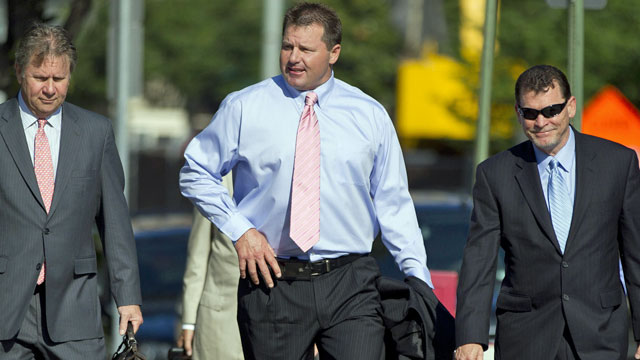 Roger Clemens arrives at federal court as his legal team rests its case. (AP)