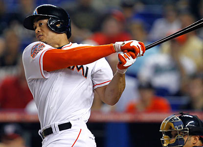 Giancarlo Stanton ties a franchise record for a single month after hitting his 12th home run in May. (Getty Images)