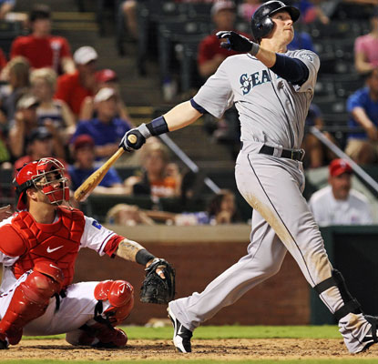 Justin Smoak smacks two three-run dingers against his former team as the M's score a MLB season-high 21 runs.  (US Presswire)