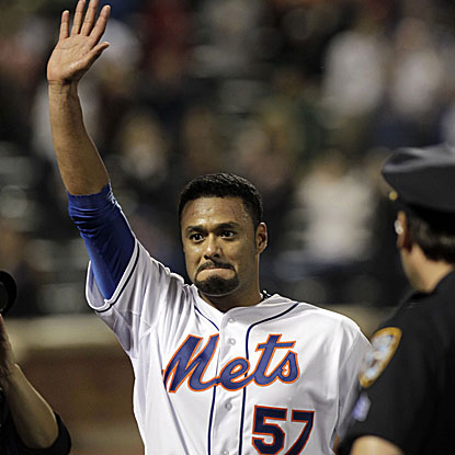 The Mets' Johan Santana strikes out eight and walks five in his no-hitter against the Cardinals.  (US Presswire)