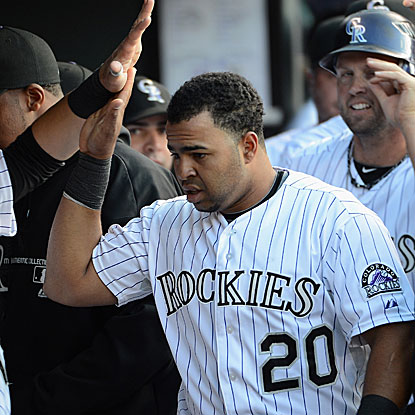 Wilin Rosario hits a two-run homer to lead the Rockies past the Dodgers for their season-high fifth straight victory.  (Getty Images)