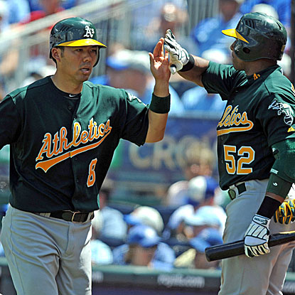 The A's erupt for nine runs in their win over the Royals, surpassing their run total from their previous six games combined.  (US Presswire)