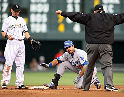 Andre Ethier, who tallies two hits and two RBI, makes it safely into second for a double. (US Presswire)