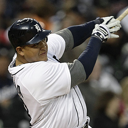 The Tigers' Miguel Cabrera connects for two solo home runs to dead center field, the second traveling an estimated 433 feet.  (AP)