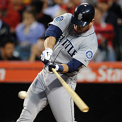 John Jaso collects three of the Mariners' 10 hits in their win over the Angels.  (US Presswire)