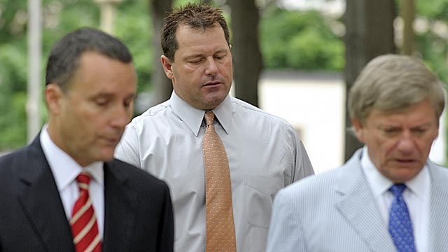 Clemens and his legal team arrive at court Wednesday. (AP)