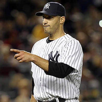 The Yankees' Andy Pettitte dominates the Rays, striking out five consecutive batters at one point and 10 overall in the win.  (AP)