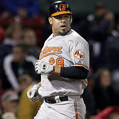 Ronny Paulino was 0 for 4 before delivering an RBI single in the 10th inning to score the Orioles' go-ahead run.  (AP)