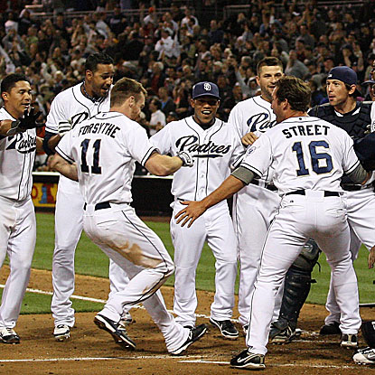 Rookie Logan Forsythe's first MLB home run is a walk-off shot to put the Padres past the Giants.  (US Presswire)