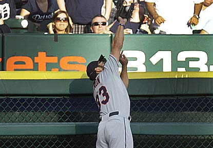 Johnny Damon robs Prince Fielder of a potential HR, and adds a two-run single as Cleveland improves to 5-0 vs. Detroit in 2012. (AP)