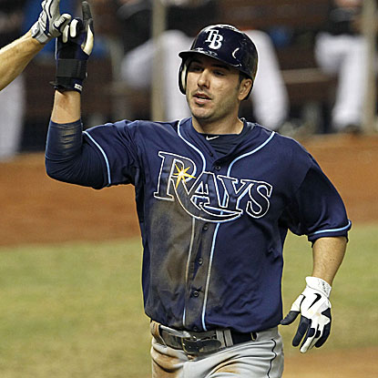 Matt Joyce homers, doubles and scores three times in the Rays' victory over the Marlins.  (AP)