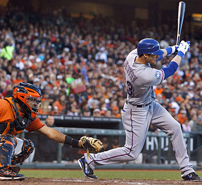 Craig Gentry comes up with a career-best five hits, driving in two runs for the Rangers. (Getty Images)
