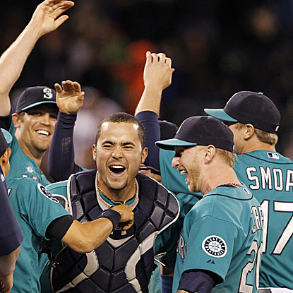 The Mariners throw the 10th combined no-hitter in history and tie the record for most pitchers used in a no-no with six.  (AP)