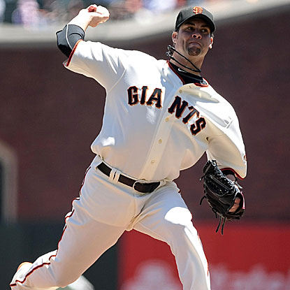 The Giants' Ryan Vogelsong pitches a season-high 7 2/3 innings to defeat the Rangers and win his fifth straight decision.  (US Presswire)