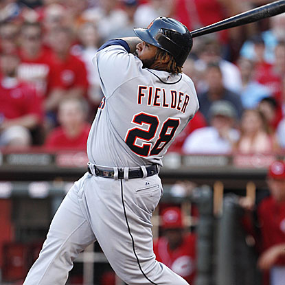 Prince Fielder homers and later knocks in the tie-breaking run with a single to put the Tigers past the Reds.  (US Presswire)