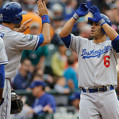 Jerry Hairston Jr. collects three hits and drives in a career-high five RBI in the Dodgers' victory over the Mariners.  (US Presswire)