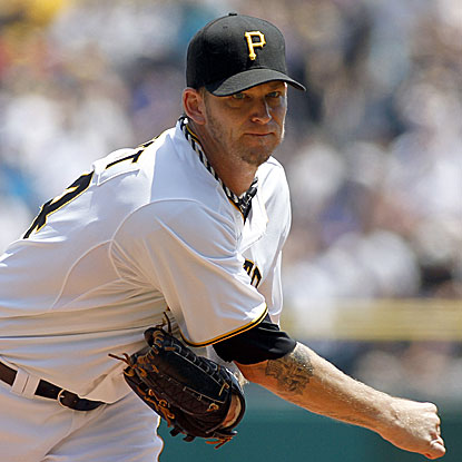 The Pirates'  A.J. Burnett allows two runs in 7 1/3 innings to defeat the Royals for his fifth straight victory.  (Getty Images)