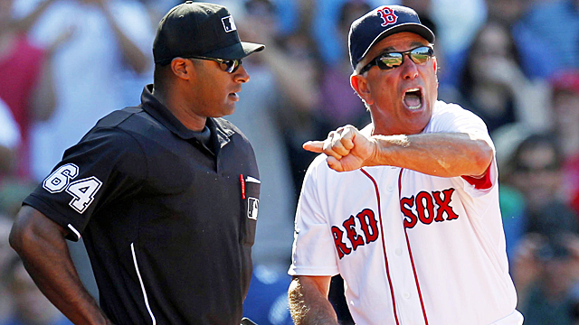 Valentine arguing with the umpires was a common occurrence over the weekend vs. the Nats. (US Presswire)