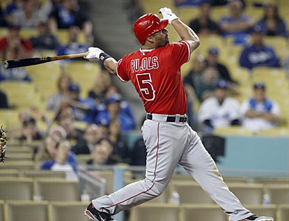 Albert Pujols' ninth-inning single gives the Angels their 10th consecutive road victory -- one shy of the franchise record.  (AP)