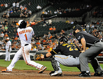 Back after a 13-month absence due to concussion, Brian Roberts gets three hits for the Orioles. (Getty Images)