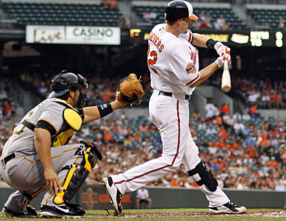 Matt Wieters connects for four hits, including this double in the third, and provides five RBI for the Orioles. (AP)