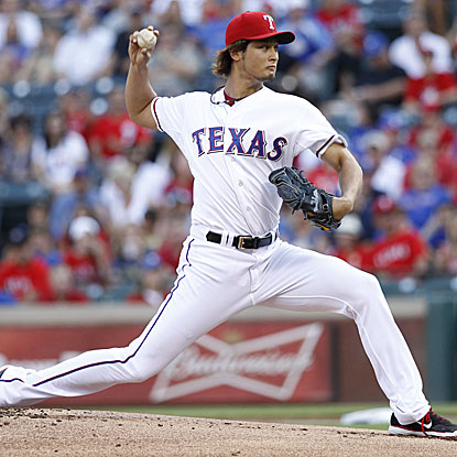The Rangers' Yu Darvish matches his season-high with 11 strikeouts, going eight innings to earn the win.  (US Presswire)