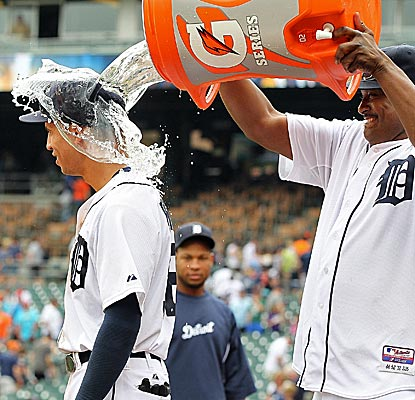 Tigers rookie Quintin Berry is hit with the Gatorade shower after collecting a career-high five hits.  (Getty Images)
